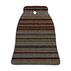 Stripy Knitted Wool Fabric Texture Bell Ornament (two Sides)