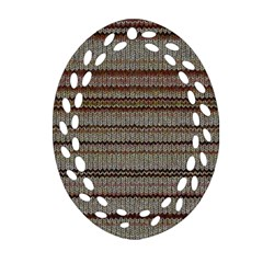 Stripy Knitted Wool Fabric Texture Ornament (oval Filigree)