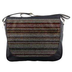 Stripy Knitted Wool Fabric Texture Messenger Bags