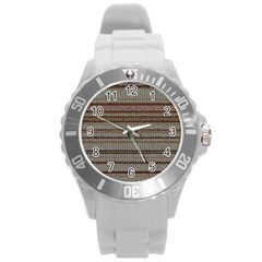 Stripy Knitted Wool Fabric Texture Round Plastic Sport Watch (l)