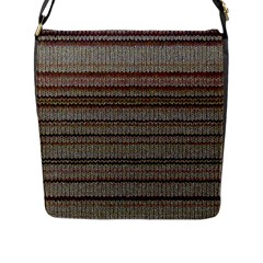 Stripy Knitted Wool Fabric Texture Flap Messenger Bag (L)