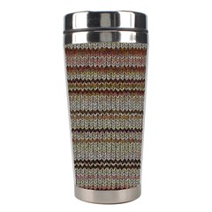 Stripy Knitted Wool Fabric Texture Stainless Steel Travel Tumblers