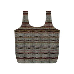 Stripy Knitted Wool Fabric Texture Full Print Recycle Bags (s)