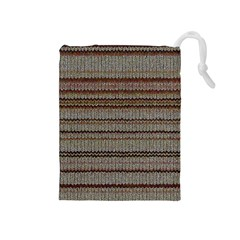 Stripy Knitted Wool Fabric Texture Drawstring Pouches (medium)
