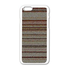 Stripy Knitted Wool Fabric Texture Apple Iphone 6/6s White Enamel Case
