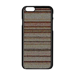 Stripy Knitted Wool Fabric Texture Apple Iphone 6/6s Black Enamel Case