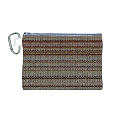 Stripy Knitted Wool Fabric Texture Canvas Cosmetic Bag (m)