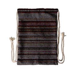 Stripy Knitted Wool Fabric Texture Drawstring Bag (small)