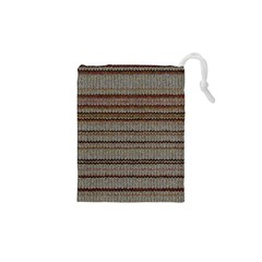 Stripy Knitted Wool Fabric Texture Drawstring Pouches (xs)