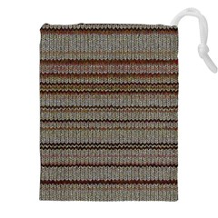 Stripy Knitted Wool Fabric Texture Drawstring Pouches (XXL)