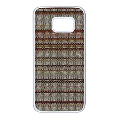 Stripy Knitted Wool Fabric Texture Samsung Galaxy S7 White Seamless Case