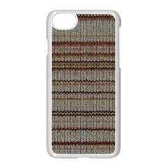 Stripy Knitted Wool Fabric Texture Apple Iphone 7 Seamless Case (white)