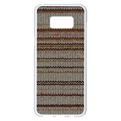 Stripy Knitted Wool Fabric Texture Samsung Galaxy S8 Plus White Seamless Case
