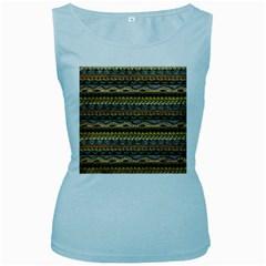 Aztec Pattern Women s Baby Blue Tank Top
