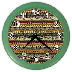 Aztec Pattern Color Wall Clocks
