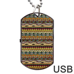 Aztec Pattern Dog Tag Usb Flash (one Side)
