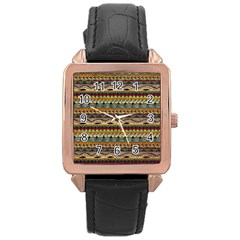 Aztec Pattern Rose Gold Leather Watch