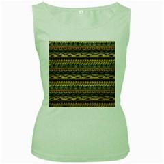 Aztec Pattern Women s Green Tank Top