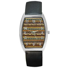 Aztec Pattern Barrel Style Metal Watch