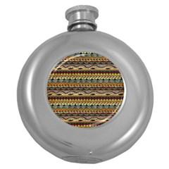 Aztec Pattern Round Hip Flask (5 Oz)