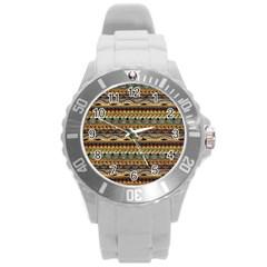 Aztec Pattern Round Plastic Sport Watch (L)