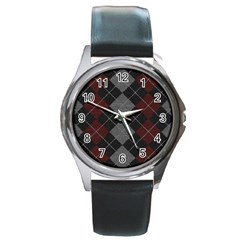 Wool Texture With Great Pattern Round Metal Watch