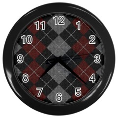 Wool Texture With Great Pattern Wall Clocks (black)