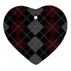 Wool Texture With Great Pattern Heart Ornament (Two Sides)