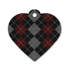 Wool Texture With Great Pattern Dog Tag Heart (two Sides)