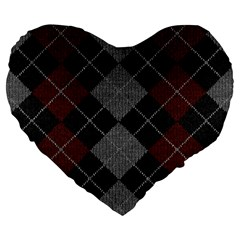 Wool Texture With Great Pattern Large 19  Premium Heart Shape Cushions