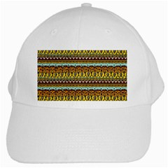 Bohemian Fabric Pattern White Cap