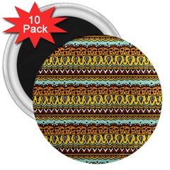 Bohemian Fabric Pattern 3  Magnets (10 pack)