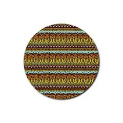 Bohemian Fabric Pattern Rubber Coaster (round)