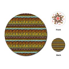 Bohemian Fabric Pattern Playing Cards (Round)