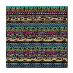 Aztec Pattern Cool Colors Tile Coasters