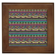 Aztec Pattern Cool Colors Framed Tiles