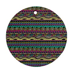 Aztec Pattern Cool Colors Ornament (Round)