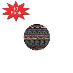 Aztec Pattern Cool Colors 1  Mini Buttons (10 pack)