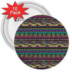 Aztec Pattern Cool Colors 3  Buttons (10 pack)
