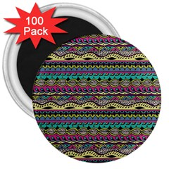 Aztec Pattern Cool Colors 3  Magnets (100 Pack)