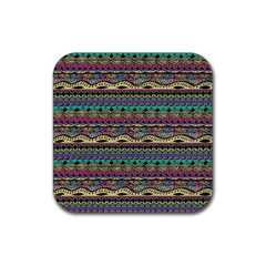 Aztec Pattern Cool Colors Rubber Square Coaster (4 Pack)