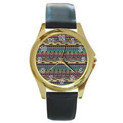 Aztec Pattern Cool Colors Round Gold Metal Watch