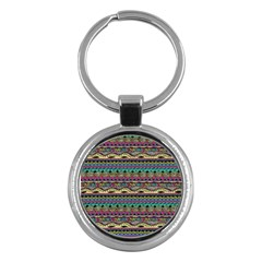 Aztec Pattern Cool Colors Key Chains (Round)
