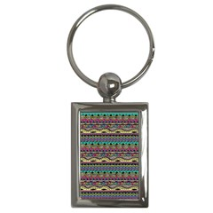 Aztec Pattern Cool Colors Key Chains (rectangle)