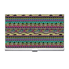 Aztec Pattern Cool Colors Business Card Holders