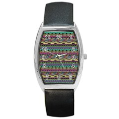 Aztec Pattern Cool Colors Barrel Style Metal Watch