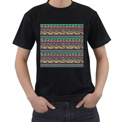 Aztec Pattern Cool Colors Men s T-Shirt (Black) (Two Sided)