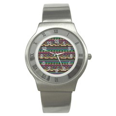 Aztec Pattern Cool Colors Stainless Steel Watch