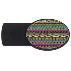 Aztec Pattern Cool Colors USB Flash Drive Oval (4 GB)