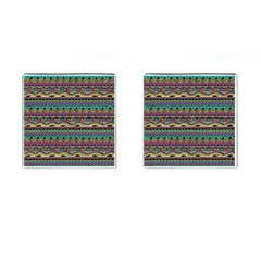 Aztec Pattern Cool Colors Cufflinks (Square)